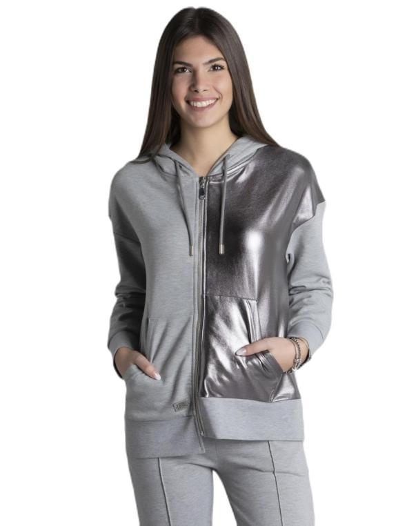 Woman hoody full zip Glossy
