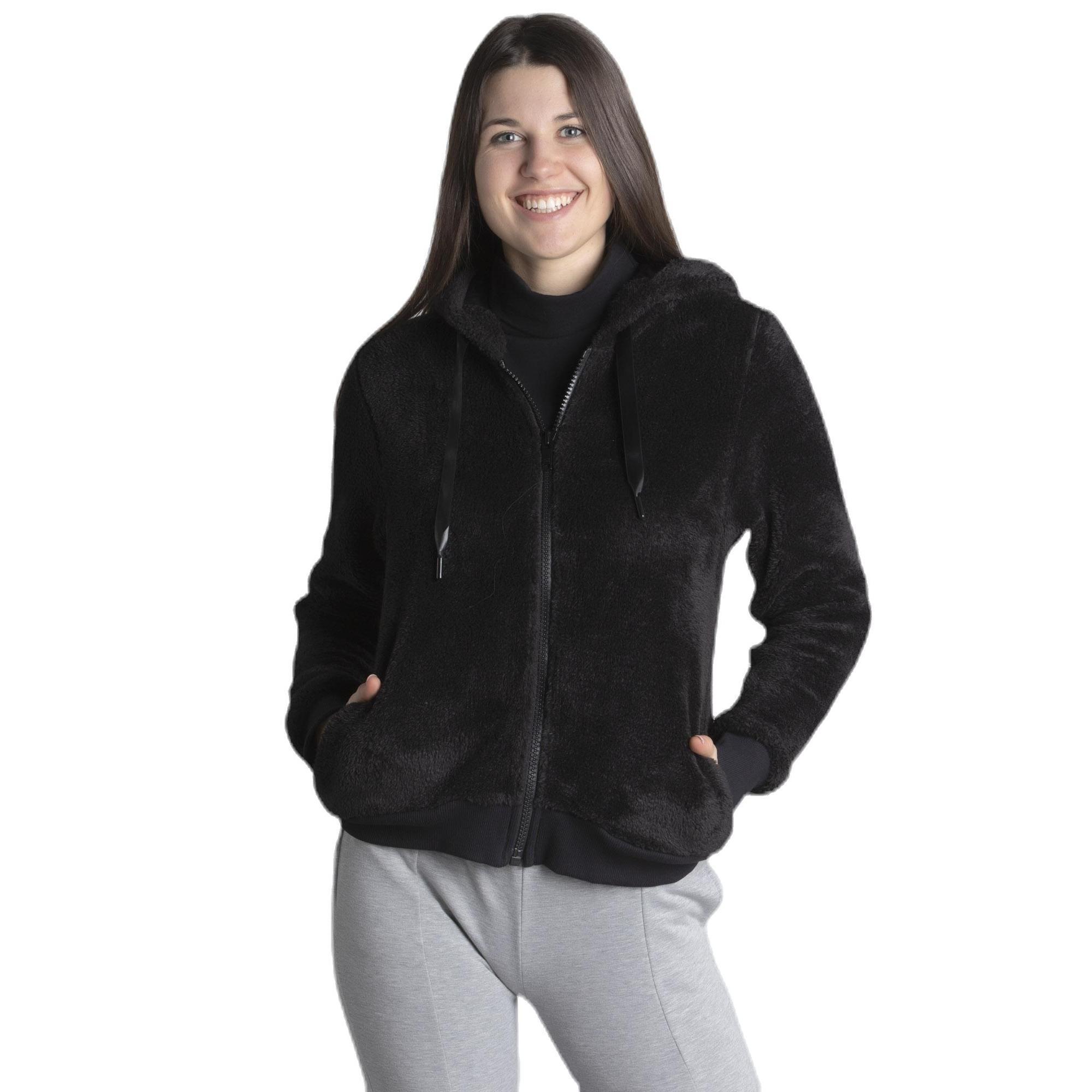 Felpa da donna Sherpa con cappuccio e cappuccio in lana fucsia